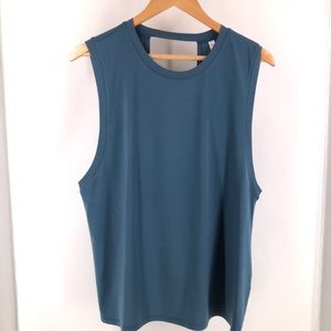 Fabletics Blue Cutoff Knotted Back Muscle Tank